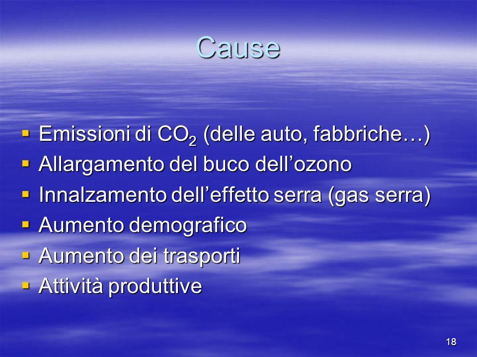 18 Cause Emissioni di CO 2 (delle auto, fabbriche…) Emissioni di CO 2 (delle auto, fabbriche…) Allargamento del buco dellozono Allargamento del buco dellozono Innalzamento delleffetto serra (gas serra) Innalzamento delleffetto serra (gas serra) Aumento demografico Aumento demografico Aumento dei trasporti Aumento dei trasporti Attività produttive Attività produttive