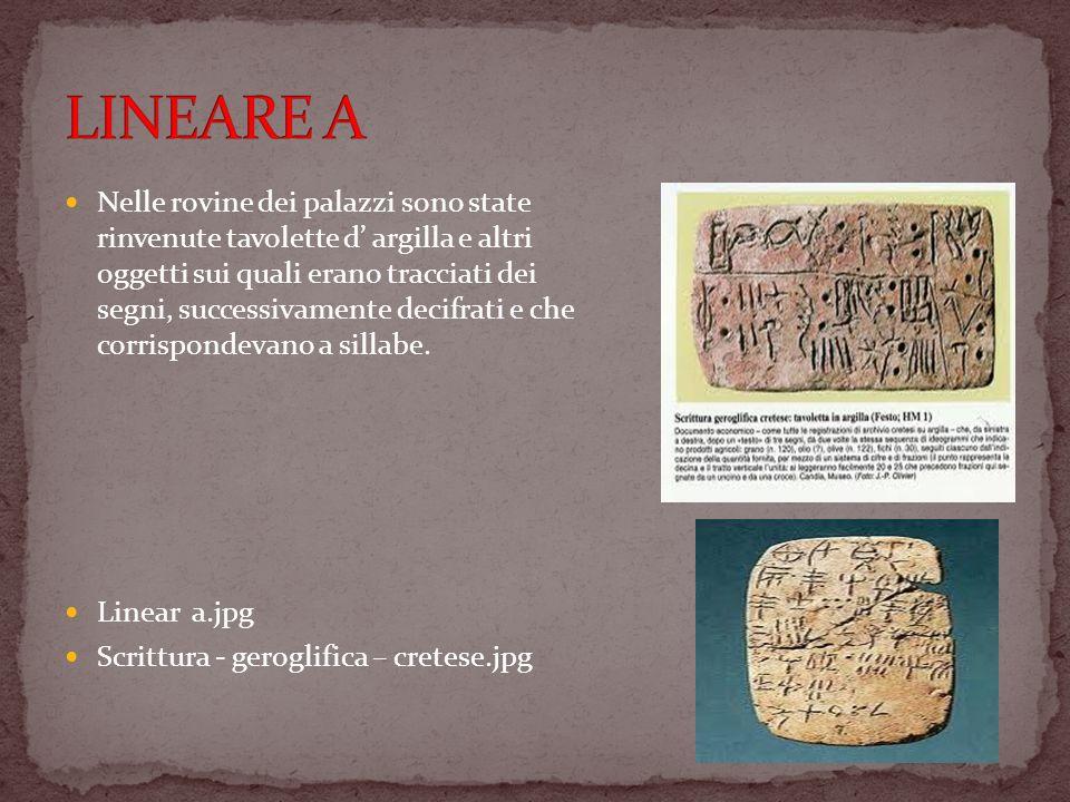 Nelle rovine dei palazzi sono state rinvenute tavolette d argilla e altri oggetti sui quali erano tracciati dei segni, successivamente decifrati e che