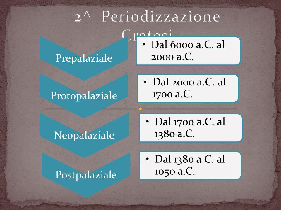 Prepalaziale Dal 6000 a.C. al 2000 a.C. Protopalaziale Dal 2000 a.C. al 1700 a.C. Neopalaziale Dal 1700 a.C. al 1380 a.C. Postpalaziale Dal 1380 a.C.