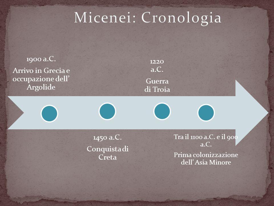 1900 a.C. Arrivo in Grecia e occupazione dell Argolide 1450 a.C. Conquista di Creta 1220 a.C. Guerra di Troia Tra il 1100 a.C. e il 900 a.C. Prima col