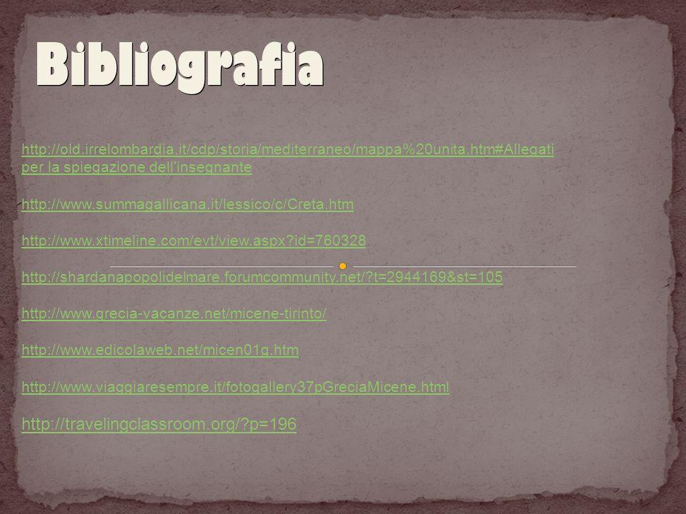 Bibliografia http://old.irrelombardia.it/cdp/storia/mediterraneo/mappa%20unita.htm#Allegati per la spiegazione dell'insegnante http://www.summagallica