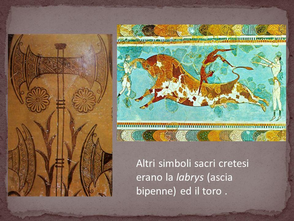 Altri simboli sacri cretesi erano la labrys (ascia bipenne) ed il toro.