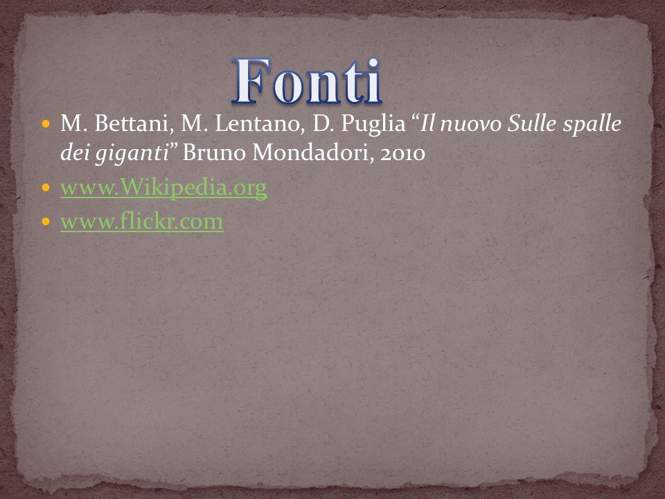 M. Bettani, M. Lentano, D. Puglia Il nuovo Sulle spalle dei giganti Bruno Mondadori, 2010 www.Wikipedia.org www.flickr.com