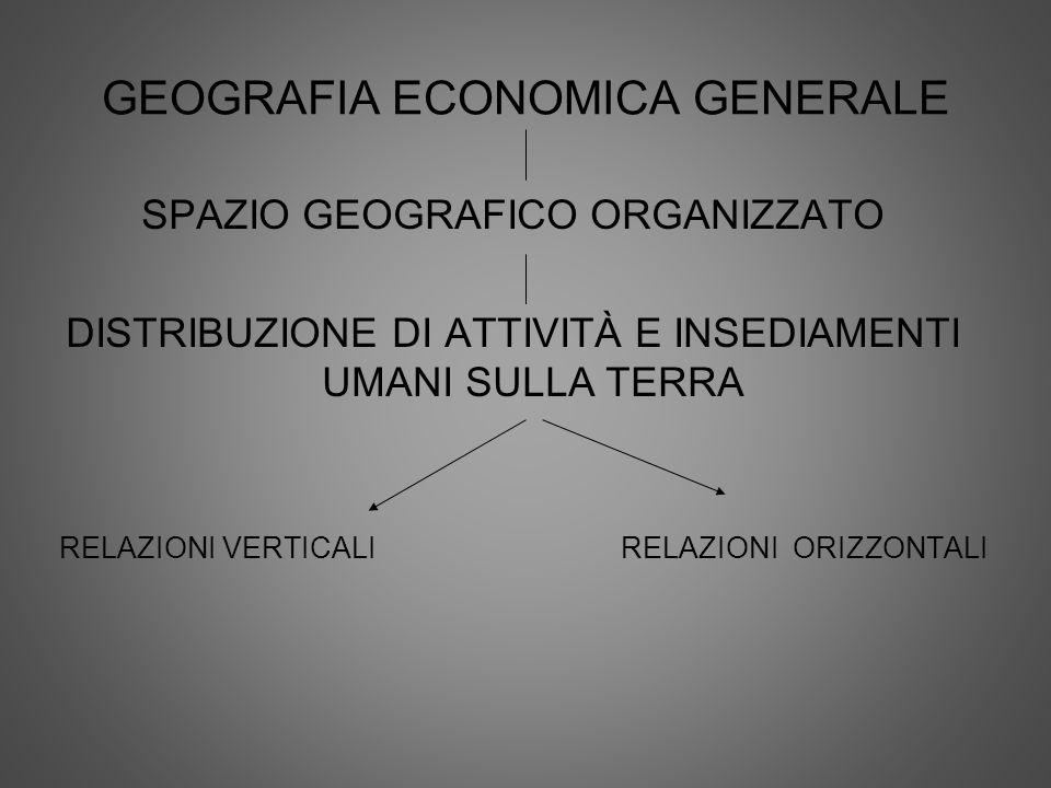 GEOGRAFIA ECONOMICA GENERALE SPAZIO GEOGRAFICO ORGANIZZATO DISTRIBUZIONE DI ATTIVITÀ E INSEDIAMENTI UMANI SULLA TERRA RELAZIONI VERTICALI RELAZIONI OR