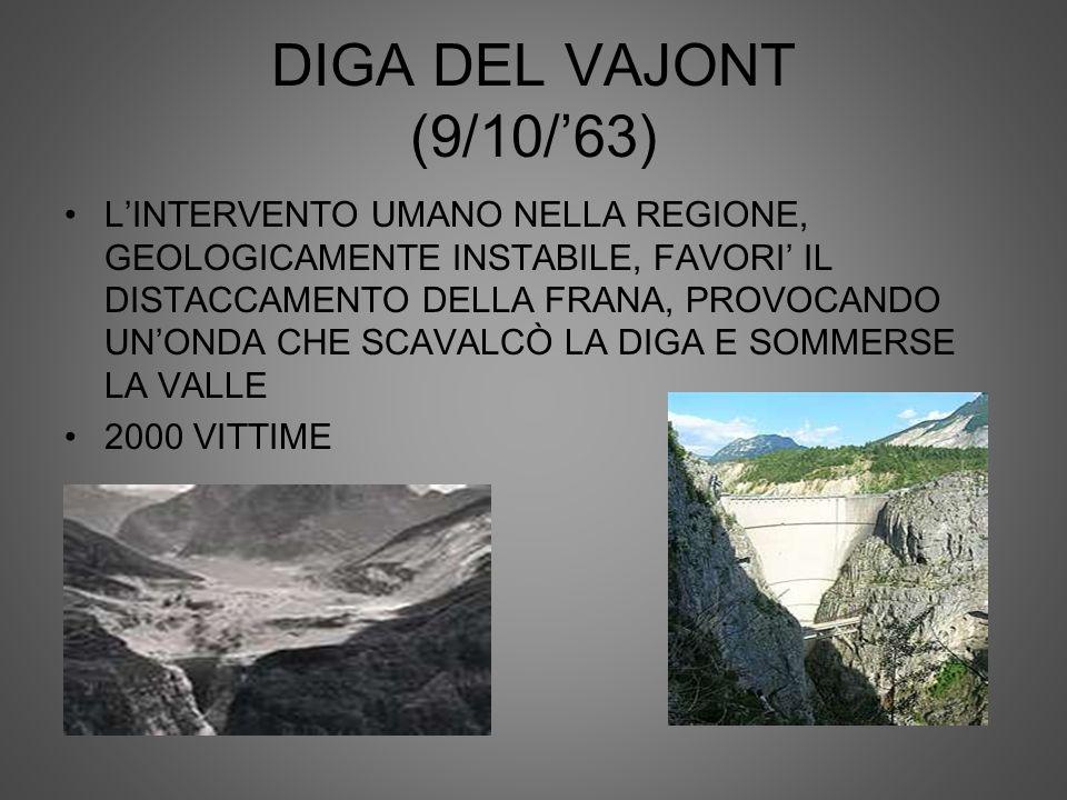 DIGA DEL VAJONT (9/10/63) LINTERVENTO UMANO NELLA REGIONE, GEOLOGICAMENTE INSTABILE, FAVORI IL DISTACCAMENTO DELLA FRANA, PROVOCANDO UNONDA CHE SCAVAL