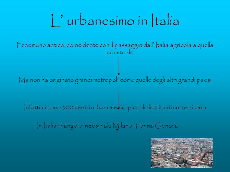 L urbanesimo in Italia Fenomeno antico, coincidente con il passaggio dall Italia agricola a quella industriale Ma non ha originato grandi metropoli co