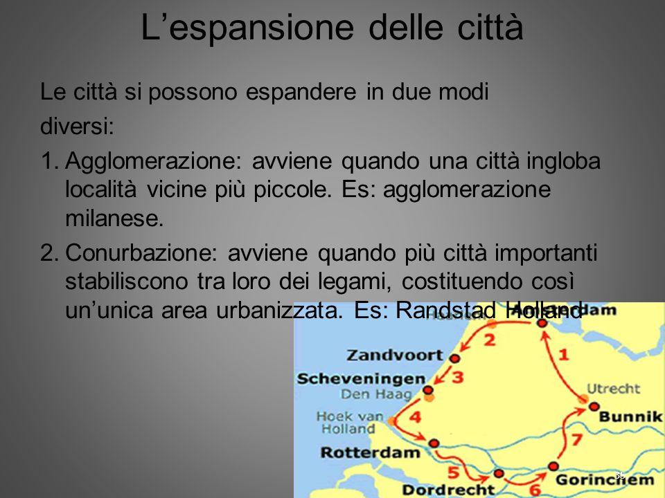 Lespansione delle città Le città si possono espandere in due modi diversi: 1.Agglomerazione: avviene quando una città ingloba località vicine più picc