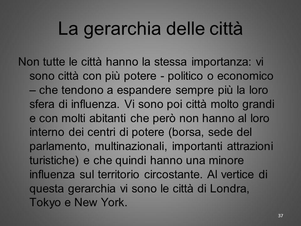 La gerarchia delle città Non tutte le città hanno la stessa importanza: vi sono città con più potere - politico o economico – che tendono a espandere