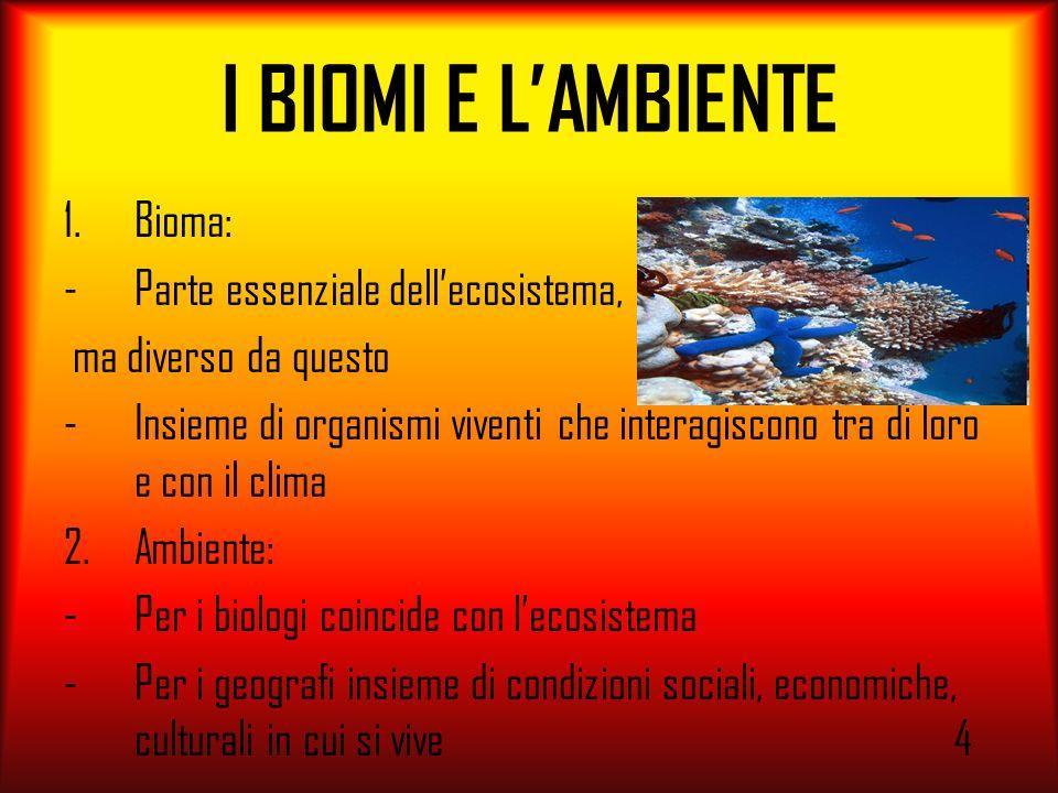 I BIOMI E LAMBIENTE 1.Bioma: -Parte essenziale dellecosistema, ma diverso da questo -Insieme di organismi viventi che interagiscono tra di loro e con
