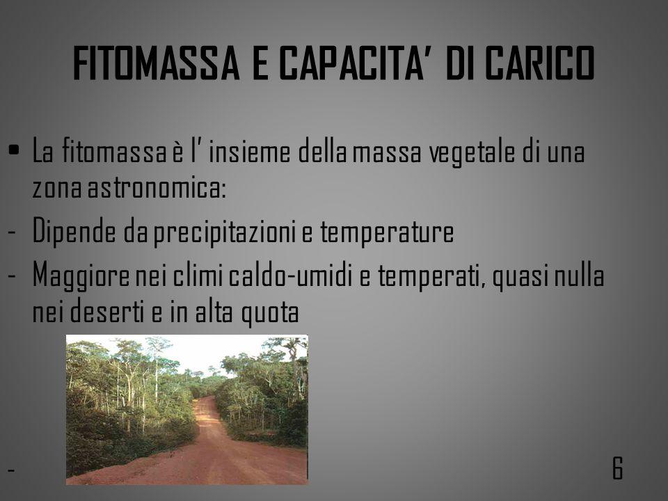 FITOMASSA E CAPACITA DI CARICO La fitomassa è l insieme della massa vegetale di una zona astronomica: -Dipende da precipitazioni e temperature -Maggio