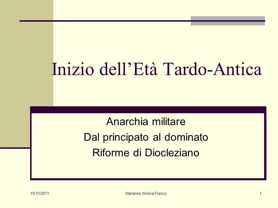 Marianna Molica Franco1 Inizio dellEtà Tardo-Antica Anarchia militare Dal principato al dominato Riforme di Diocleziano 15/11/2011