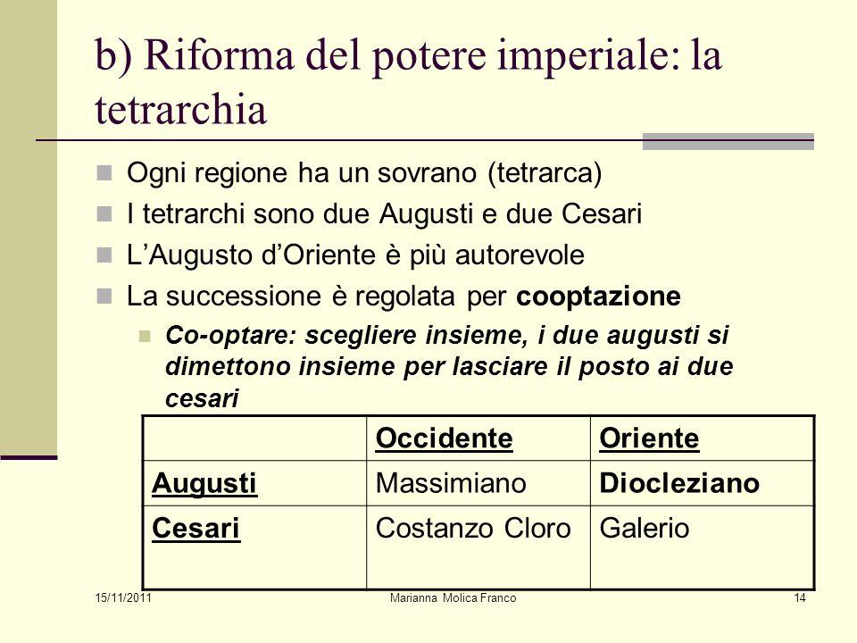 Marianna Molica Franco14 b) Riforma del potere imperiale: la tetrarchia Ogni regione ha un sovrano (tetrarca) I tetrarchi sono due Augusti e due Cesar
