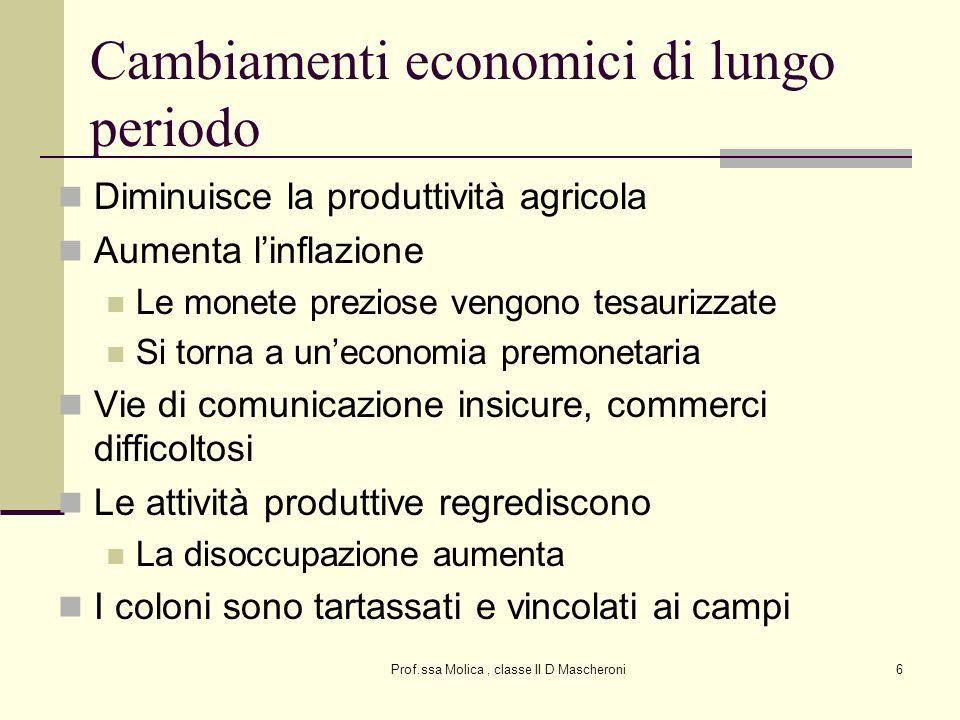 Prof.ssa Molica, classe II D Mascheroni6 Cambiamenti economici di lungo periodo Diminuisce la produttività agricola Aumenta linflazione Le monete prez