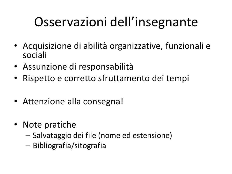 Osservazioni dellinsegnante Acquisizione di abilità organizzative, funzionali e sociali Assunzione di responsabilità Rispetto e corretto sfruttamento