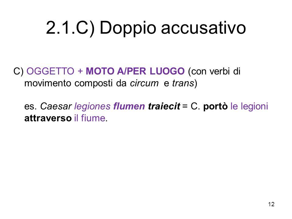 12 C) OGGETTO + MOTO A/PER LUOGO (con verbi di movimento composti da circum e trans) es. Caesar legiones flumen traiecit = C. portò le legioni attrave