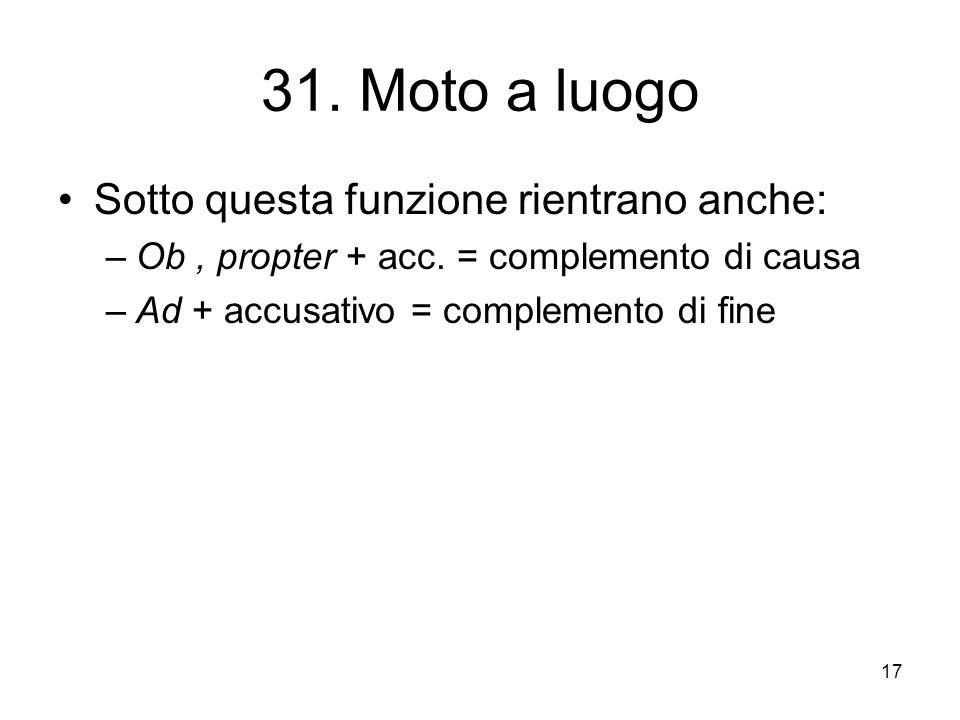 17 31. Moto a luogo Sotto questa funzione rientrano anche: –Ob, propter + acc. = complemento di causa –Ad + accusativo = complemento di fine