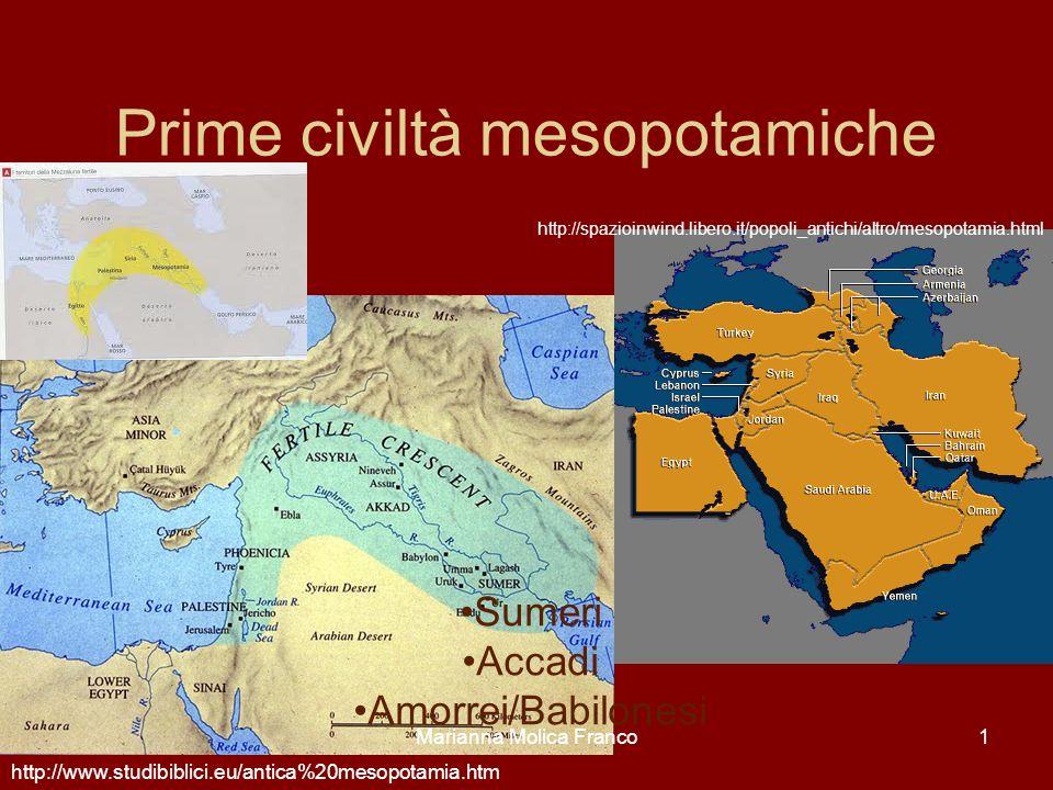 Marianna Molica Franco1 Prime civiltà mesopotamiche Sumeri Accadi Amorrei/Babilonesi http://spazioinwind.libero.it/popoli_antichi/altro/mesopotamia.ht