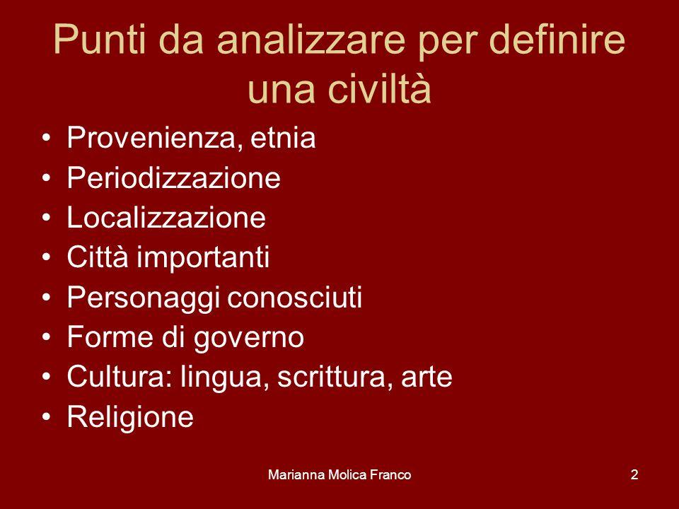 Marianna Molica Franco2 Punti da analizzare per definire una civiltà Provenienza, etnia Periodizzazione Localizzazione Città importanti Personaggi con