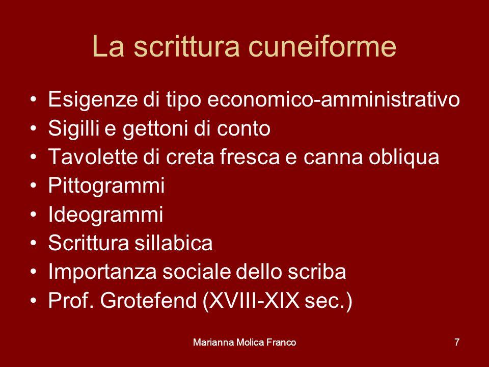 Marianna Molica Franco7 La scrittura cuneiforme Esigenze di tipo economico-amministrativo Sigilli e gettoni di conto Tavolette di creta fresca e canna