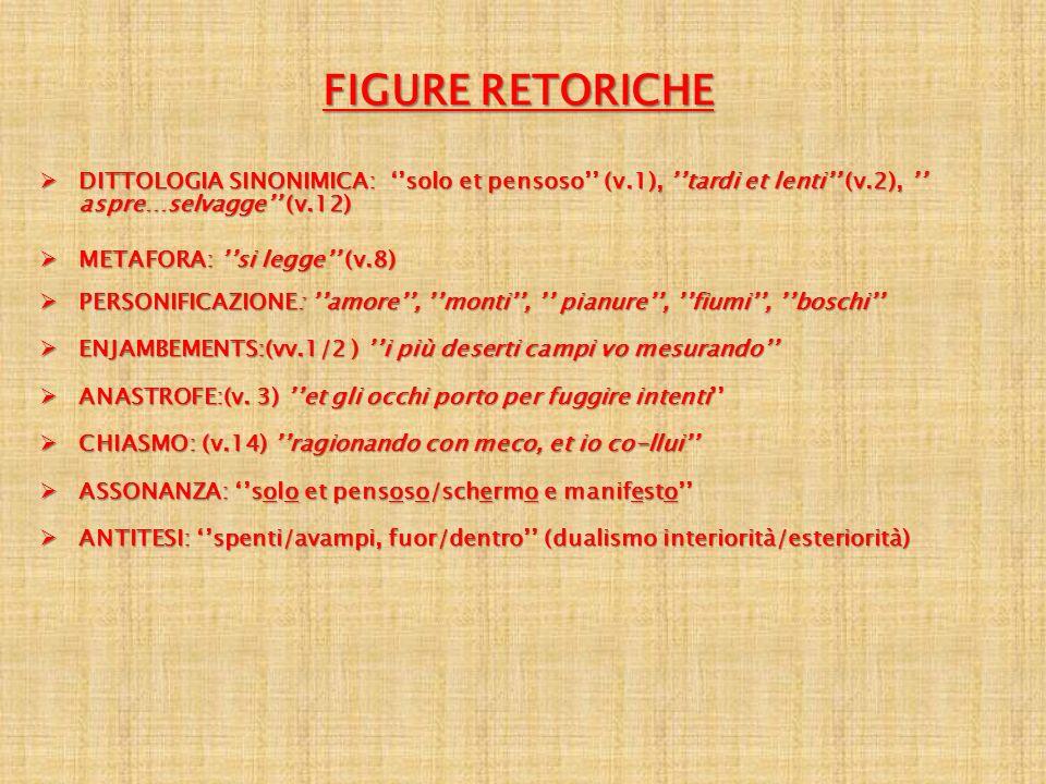 FIGURE RETORICHE DITTOLOGIA SINONIMICA: solo et pensoso (v.1), tardi et lenti (v.2), aspre…selvagge (v.12) DITTOLOGIA SINONIMICA: solo et pensoso (v.1