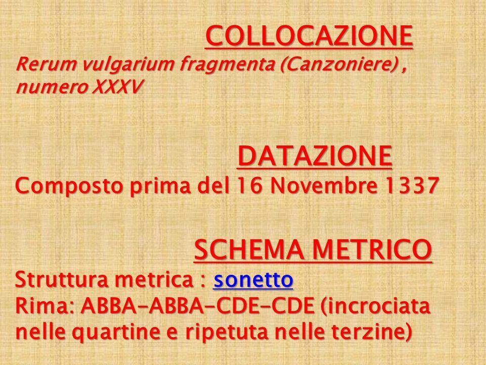 COLLOCAZIONE COLLOCAZIONE Rerum vulgarium fragmenta (Canzoniere), numero XXXV DATAZIONE Composto prima del 16 Novembre 1337 DATAZIONE Composto prima d