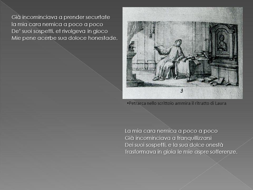 FIGURE RETORICHE DITTOLOGIA SINONIMICA: solo et pensoso (v.1), tardi et lenti (v.2), aspre…selvagge (v.12) DITTOLOGIA SINONIMICA: solo et pensoso (v.1), tardi et lenti (v.2), aspre…selvagge (v.12) METAFORA: si legge (v.8) METAFORA: si legge (v.8) PERSONIFICAZIONE: amore, monti, pianure, fiumi, boschi PERSONIFICAZIONE: amore, monti, pianure, fiumi, boschi ENJAMBEMENTS:(vv.1/2 ) i più deserti campi vo mesurando ENJAMBEMENTS:(vv.1/2 ) i più deserti campi vo mesurando ANASTROFE:(v.