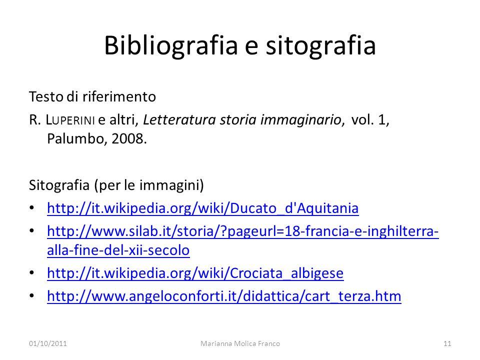 Bibliografia e sitografia Testo di riferimento R. L UPERINI e altri, Letteratura storia immaginario, vol. 1, Palumbo, 2008. Sitografia (per le immagin