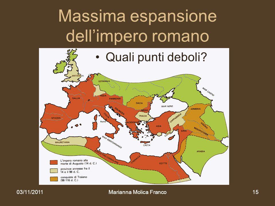 Massima espansione dellimpero romano Quali punti deboli? 03/11/2011Marianna Molica Franco15