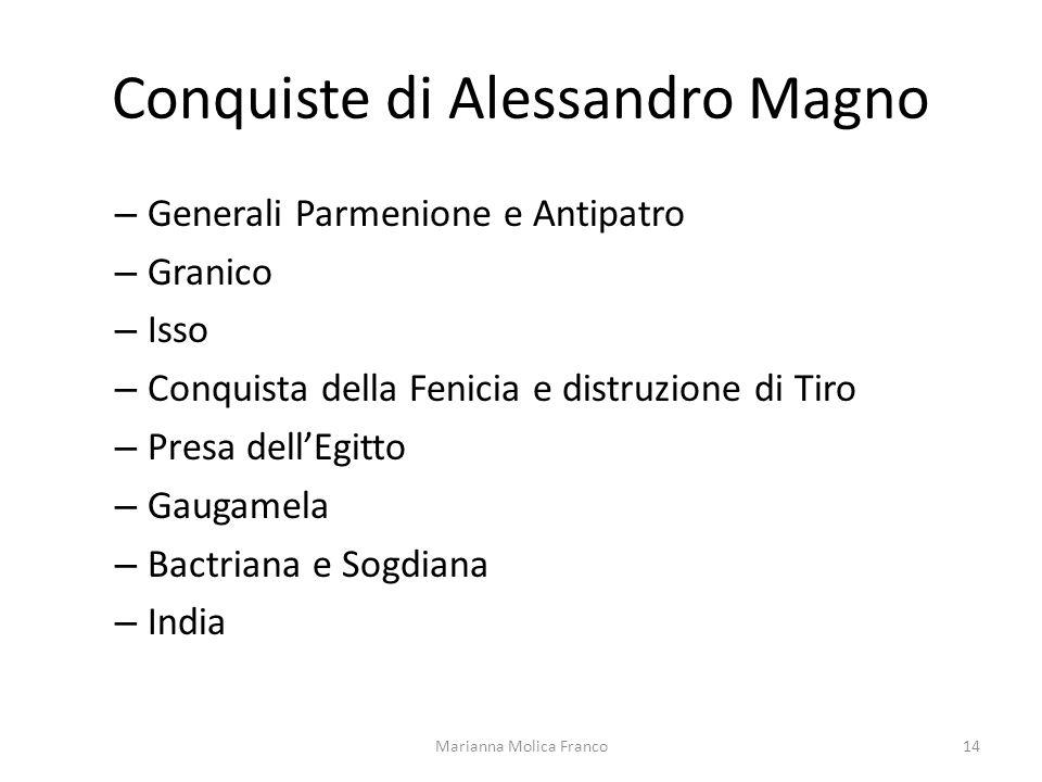 Conquiste di Alessandro Magno – Generali Parmenione e Antipatro – Granico – Isso – Conquista della Fenicia e distruzione di Tiro – Presa dellEgitto –