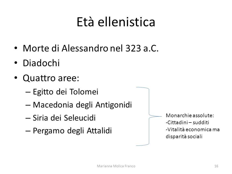 Età ellenistica Morte di Alessandro nel 323 a.C. Diadochi Quattro aree: – Egitto dei Tolomei – Macedonia degli Antigonidi – Siria dei Seleucidi – Perg