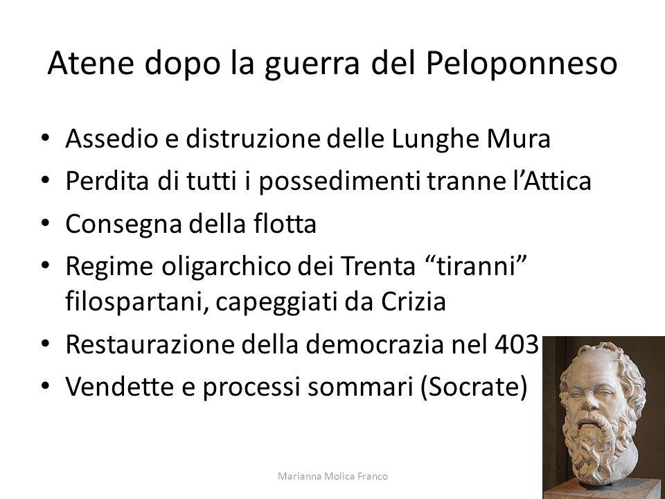 Atene dopo la guerra del Peloponneso Assedio e distruzione delle Lunghe Mura Perdita di tutti i possedimenti tranne lAttica Consegna della flotta Regi