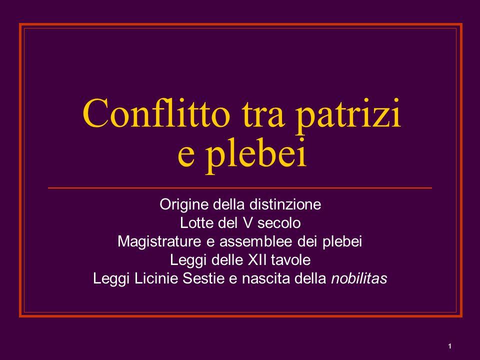1 Conflitto tra patrizi e plebei Origine della distinzione Lotte del V secolo Magistrature e assemblee dei plebei Leggi delle XII tavole Leggi Licinie
