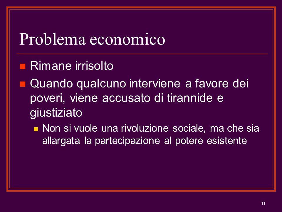 11 Problema economico Rimane irrisolto Quando qualcuno interviene a favore dei poveri, viene accusato di tirannide e giustiziato Non si vuole una rivo