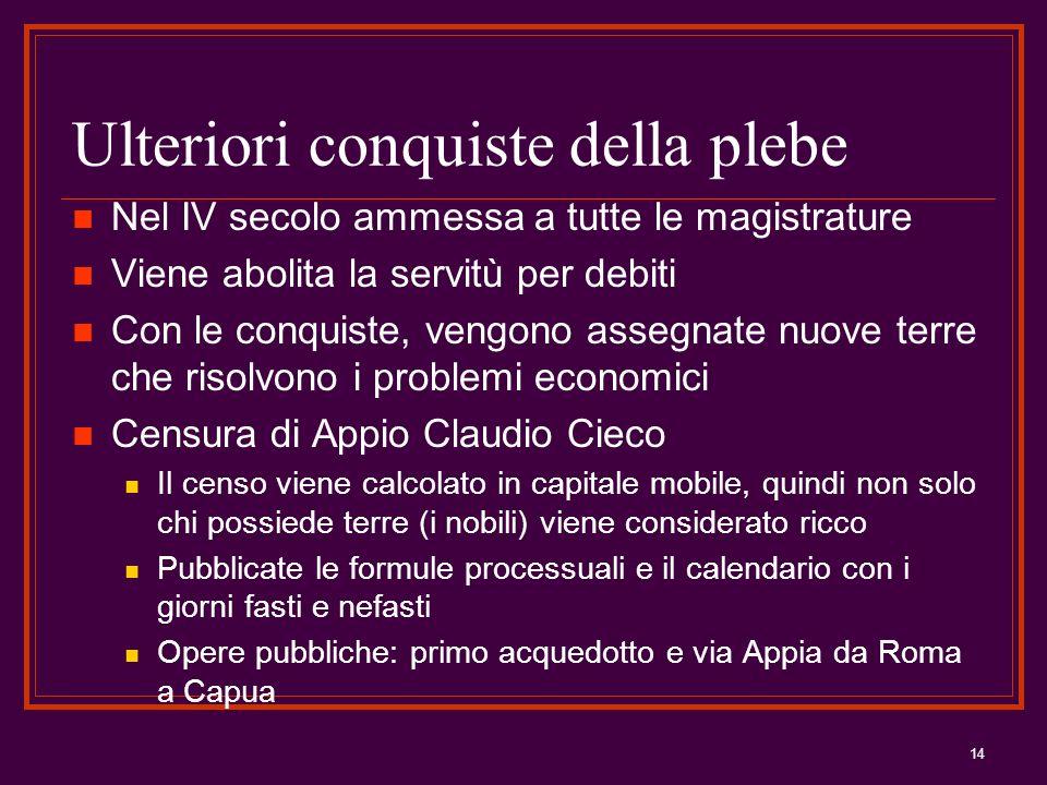 14 Ulteriori conquiste della plebe Nel IV secolo ammessa a tutte le magistrature Viene abolita la servitù per debiti Con le conquiste, vengono assegna