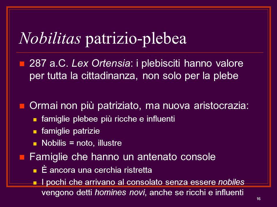 16 Nobilitas patrizio-plebea 287 a.C. Lex Ortensia: i plebisciti hanno valore per tutta la cittadinanza, non solo per la plebe Ormai non più patriziat