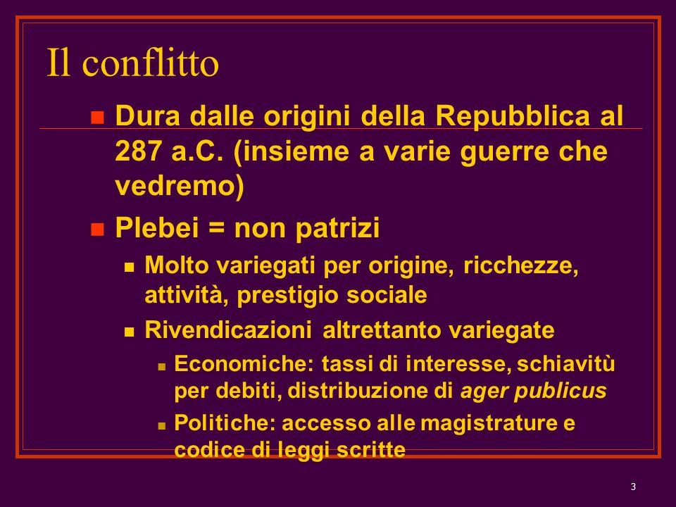 3 Il conflitto Dura dalle origini della Repubblica al 287 a.C. (insieme a varie guerre che vedremo) Plebei = non patrizi Molto variegati per origine,