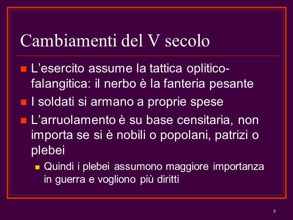 5 Cambiamenti del V secolo Lesercito assume la tattica oplitico- falangitica: il nerbo è la fanteria pesante I soldati si armano a proprie spese Larru
