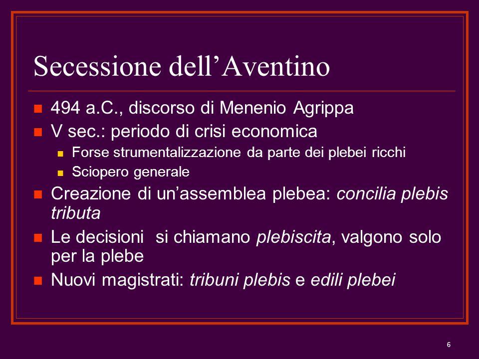 6 Secessione dellAventino 494 a.C., discorso di Menenio Agrippa V sec.: periodo di crisi economica Forse strumentalizzazione da parte dei plebei ricch