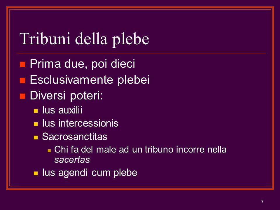 7 Tribuni della plebe Prima due, poi dieci Esclusivamente plebei Diversi poteri: Ius auxilii Ius intercessionis Sacrosanctitas Chi fa del male ad un t