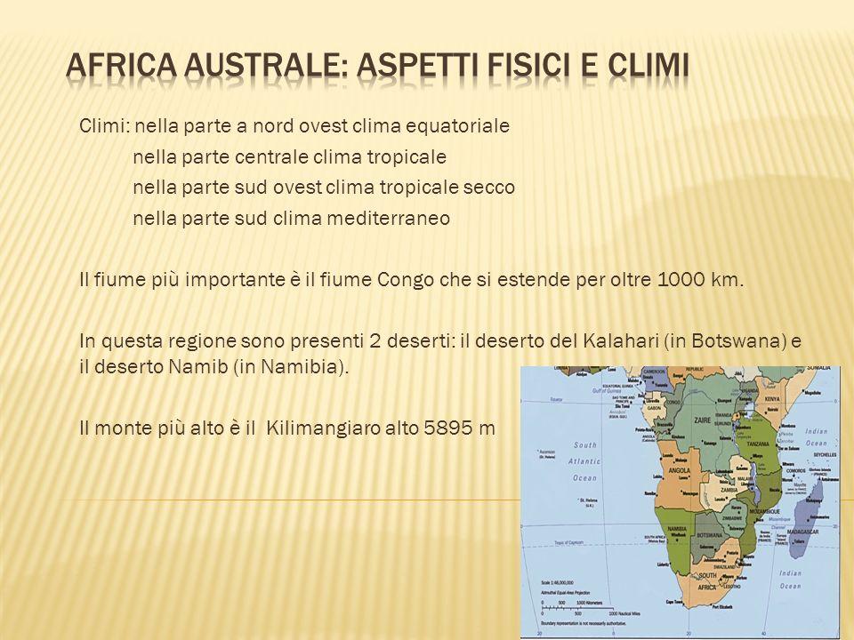 Climi: nella parte a nord ovest clima equatoriale nella parte centrale clima tropicale nella parte sud ovest clima tropicale secco nella parte sud cli