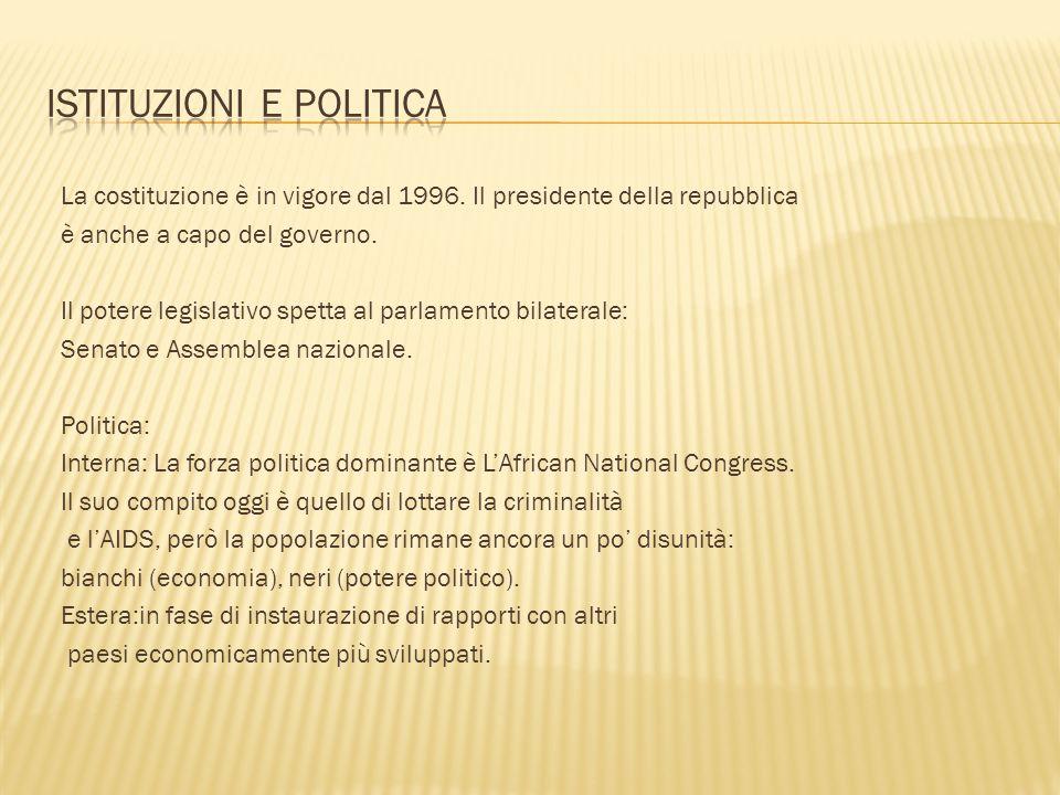 La costituzione è in vigore dal 1996. Il presidente della repubblica è anche a capo del governo. Il potere legislativo spetta al parlamento bilaterale
