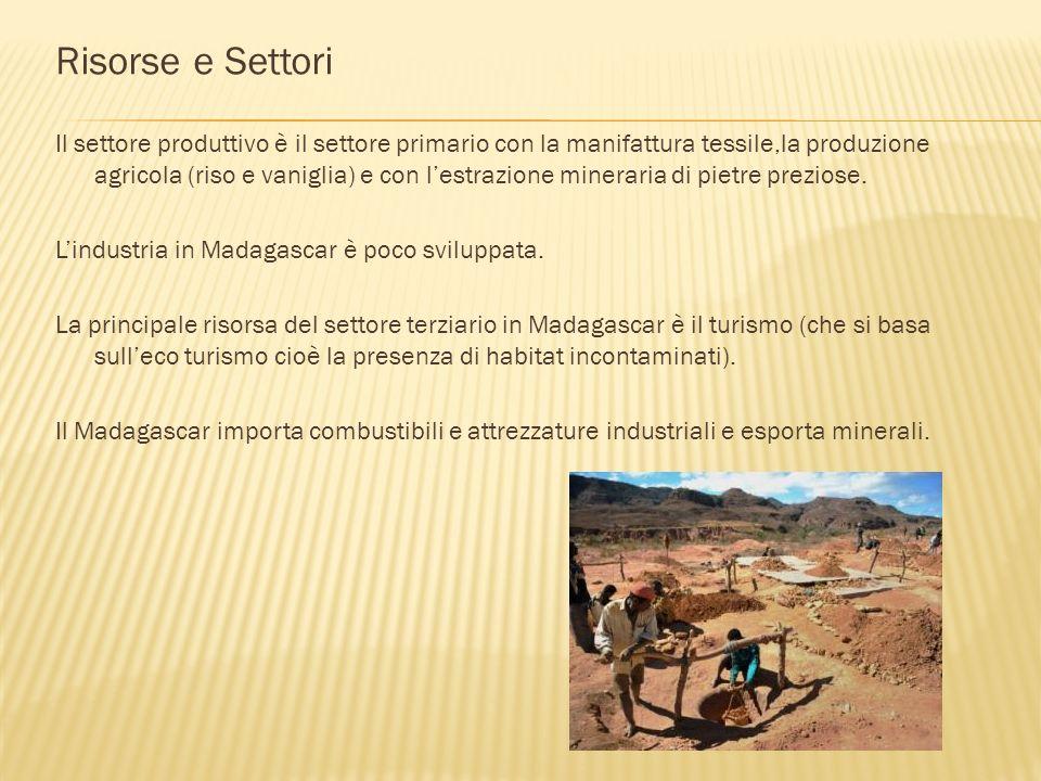 Risorse e Settori Il settore produttivo è il settore primario con la manifattura tessile,la produzione agricola (riso e vaniglia) e con lestrazione mi