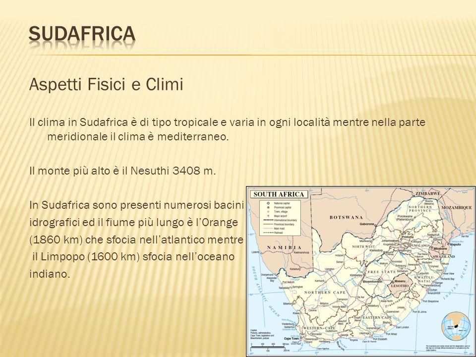 Aspetti Fisici e Climi Il clima in Sudafrica è di tipo tropicale e varia in ogni località mentre nella parte meridionale il clima è mediterraneo. Il m
