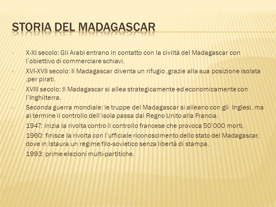 X-XI secolo: Gli Arabi entrano in contatto con la civiltà del Madagascar con lobiettivo di commerciare schiavi. XVI-XVII secolo: Il Madagascar diventa