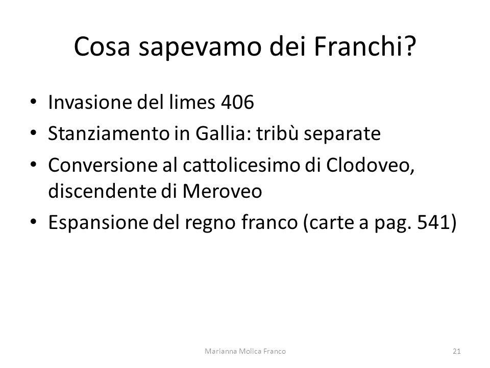 Cosa sapevamo dei Franchi? Invasione del limes 406 Stanziamento in Gallia: tribù separate Conversione al cattolicesimo di Clodoveo, discendente di Mer