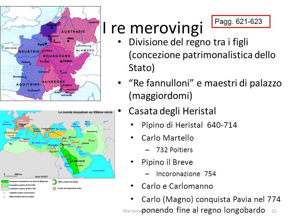 I re merovingi Divisione del regno tra i figli (concezione patrimonalistica dello Stato) Re fannulloni e maestri di palazzo (maggiordomi) Casata degli