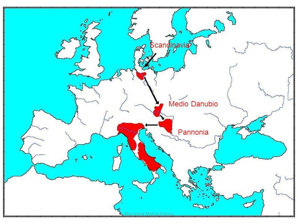 Arrivo in Italia 568 sotto la guida di Alboino 100-150.000 persone tra donne e bambini Gli amministratori bizantini si rifugiano in alcune zone-chiave 6Marianna Molica Franco