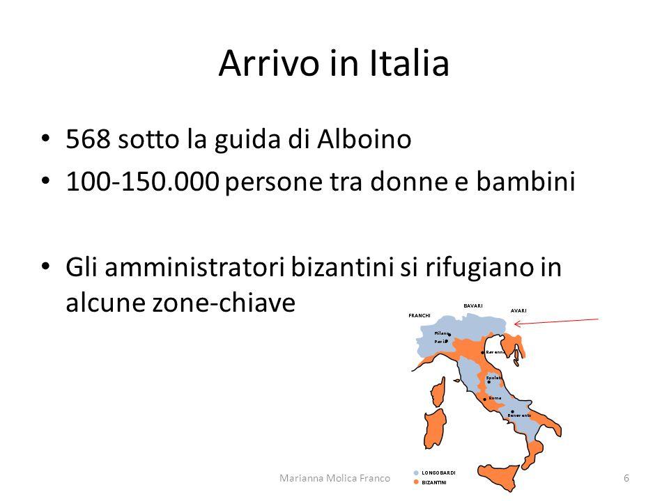 Arrivo in Italia 568 sotto la guida di Alboino 100-150.000 persone tra donne e bambini Gli amministratori bizantini si rifugiano in alcune zone-chiave