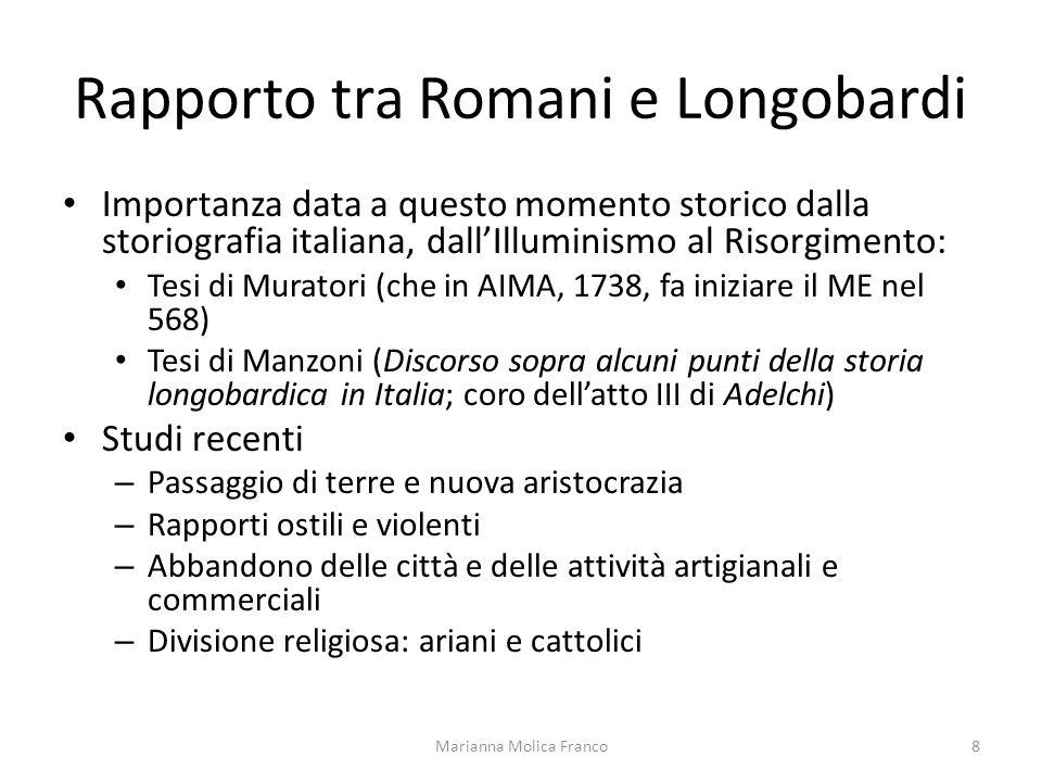 Rapporto tra Romani e Longobardi Importanza data a questo momento storico dalla storiografia italiana, dallIlluminismo al Risorgimento: Tesi di Murato