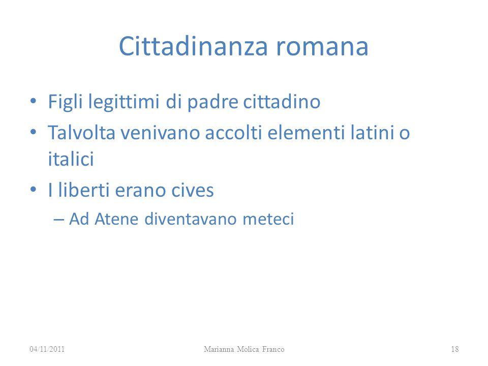 Cittadinanza romana Figli legittimi di padre cittadino Talvolta venivano accolti elementi latini o italici I liberti erano cives – Ad Atene diventavan